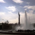 View from side of fountain and red army soldier at the Soviet Memorial in Vienna
