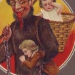 Krampus with boy and girl