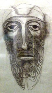 Hauntingly accurate portrait by teenage Ernst Fuchs of himself as old man