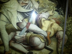 Vermeyen's graphic depiction of a beheaded corpse and bloodied sword.