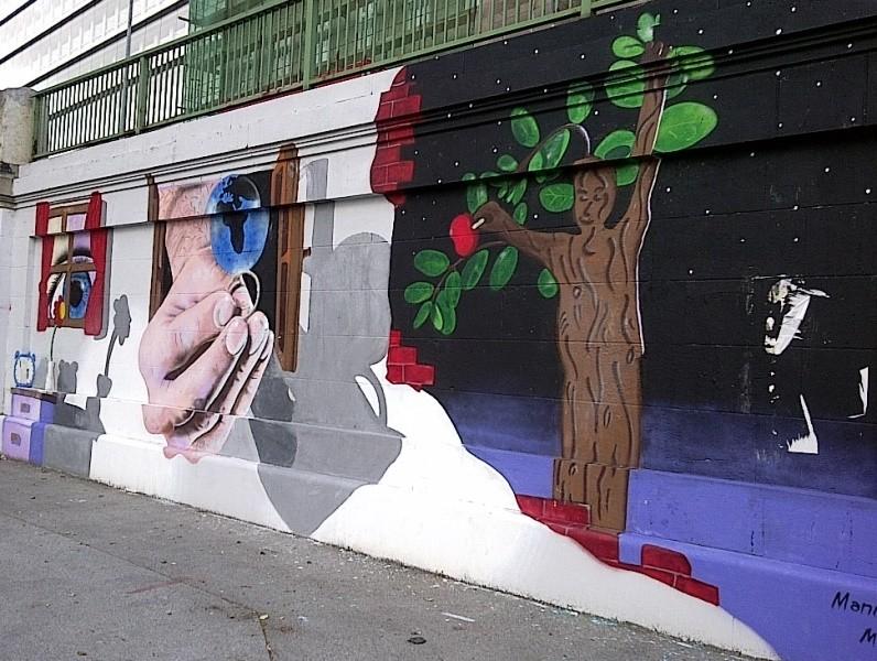 Abstract artwork grafitti on Donaukanal, Vienna, 2014