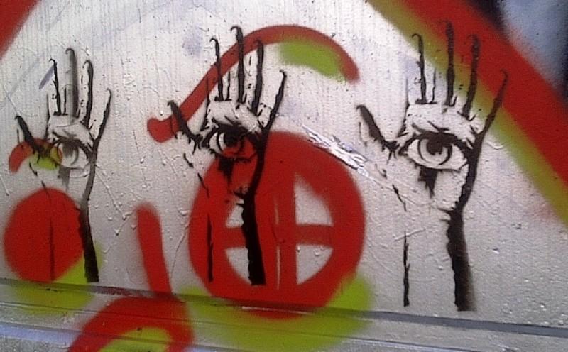 Eye in hand graffiti, Donaukanal, Vienna, Austria, 2014
