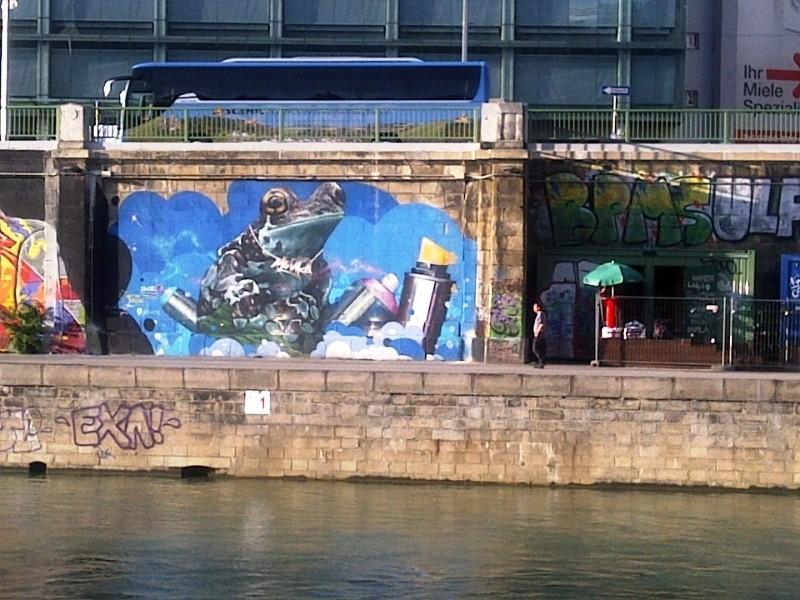 Frog, graffiti, from across Donaukanal, Vienna, Austria, 2014