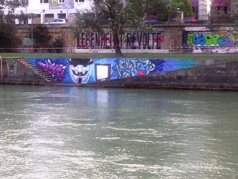 Guy Fawkes, graffiti, Donaukanal, Vienna, Austria, 2014
