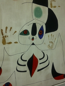 Hand prints on Miro Painting