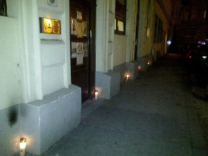 "Jewish Prayer House in Vienna's 2nd District on November 10, 2014 with candles in remembrance of ""Kristallnacht"" 76 years ago."