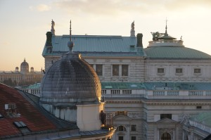 View of rooftops of Vienna and Burgtheater