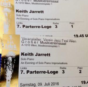 Keith Jarrett Tickets to Vienna Musikverein, July 2016